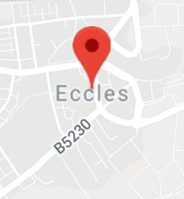 Cropped Google Map with pin over Eccles