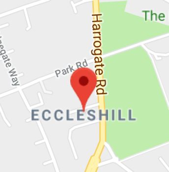 Cropped Google Map with pin over Eccleshill