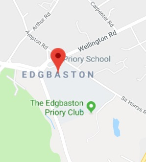 Cropped Google Map with pin over Edgbaston