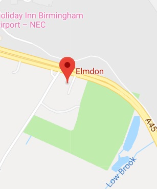 Cropped Google Map with pin over Elmdon