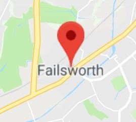 Cropped Google Map with pin over Failsworth