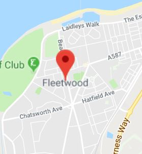 Cropped Google Map with pin over Fleetwood