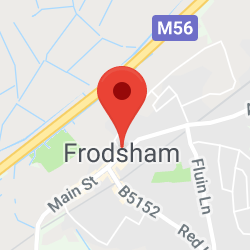 Cropped Google Map with pin over Frodsham