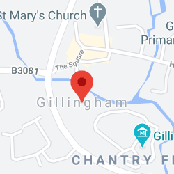 Cropped Google Map with pin over Gillingham