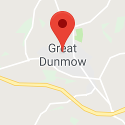 Cropped Google Map with pin over Great Dunmow