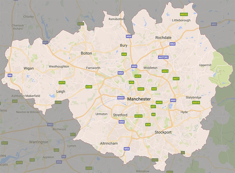Map of areas covered in Greater Manchester by PassMeFast