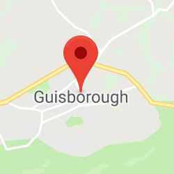 Cropped Google Map with pin over Guisborough