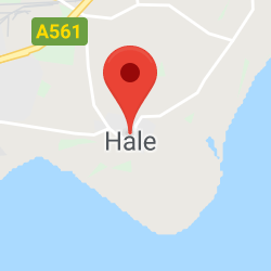 Cropped Google Map with pin over Hale
