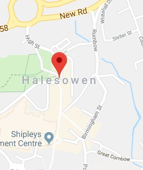 Cropped Google Map with pin over Halesowen