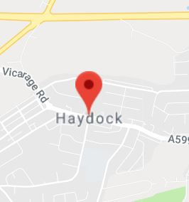 Cropped Google Map with pin over Haydock
