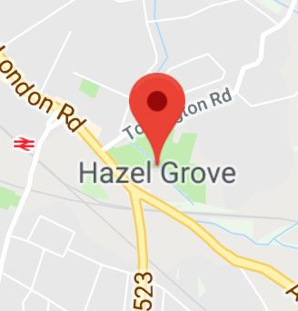 Cropped Google Map with pin over Hazel Grove