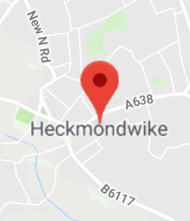 Cropped Google Map with pin over Heckmondwike