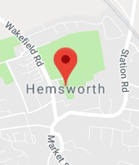 Cropped Google Map with pin over Hemsworth