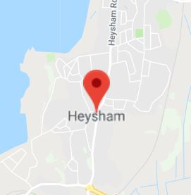 Cropped Google Map with pin over Heysham