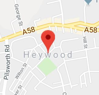 Cropped Google Map with pin over Heywood
