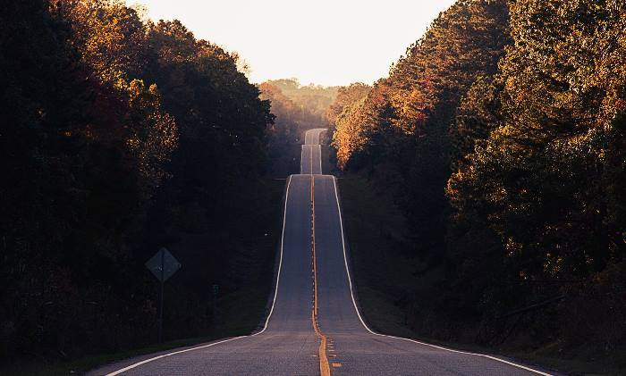 A long road with multiple hills