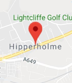Cropped Google Map with pin over Hipperholme