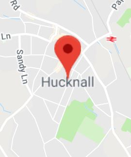 Cropped Google Map with pin over Hucknall