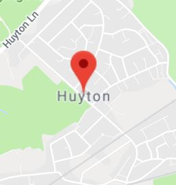 Cropped Google Map with pin over Huyton