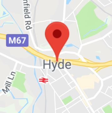Cropped Google Map with pin over Hyde
