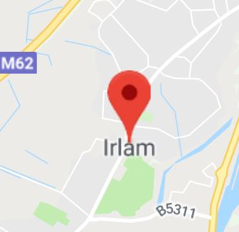 Cropped Google Map with pin over Irlam