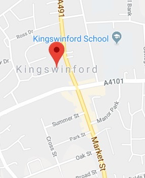 Cropped Google Map with pin over Kingswinford