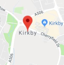 Cropped Google Map with pin over Kirkby