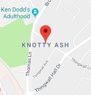 Cropped Google Map with pin over Knotty Ash