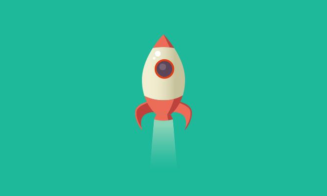 Cartoon of a rocket