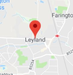 Cropped Google Map with pin over Leyland
