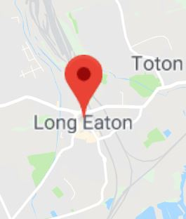 Cropped Google Map with pin over Long Eaton