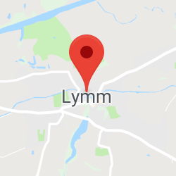 Cropped Google Map with pin over Lymm