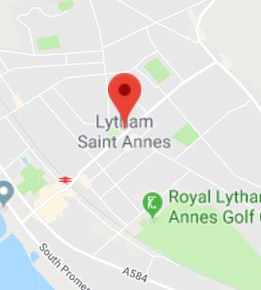 Cropped Google Map with pin over Lytham St Annes