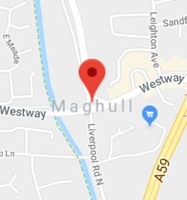 Cropped Google Map with pin over Maghull