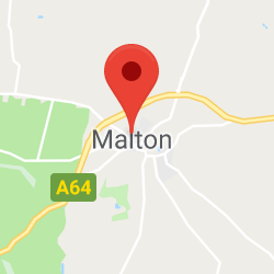 Cropped Google Map with pin over Malton