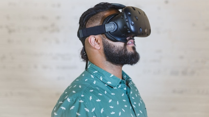 Man wearing a VR headset.