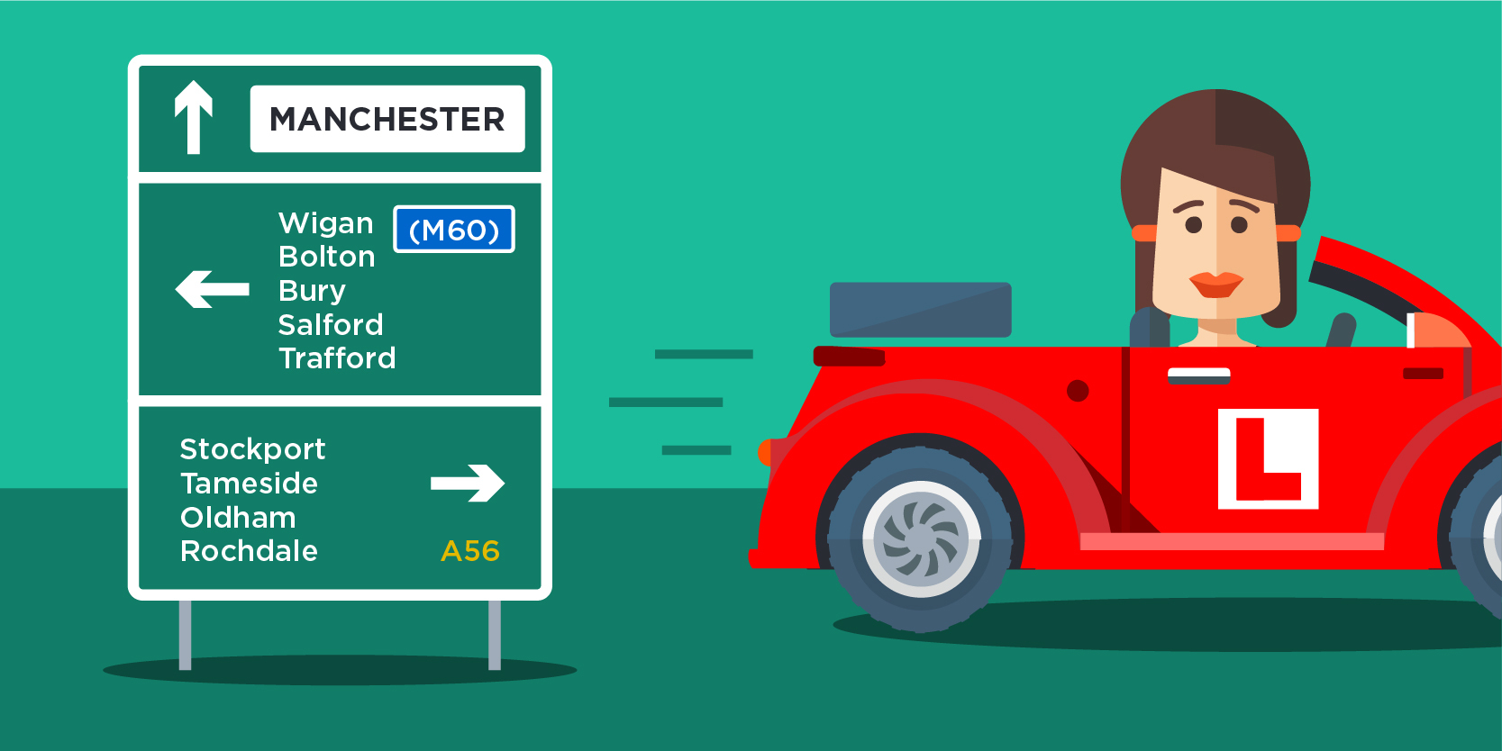 Cartoon of a learner driving past a road sign listing all ten boroughs of Greater Manchester