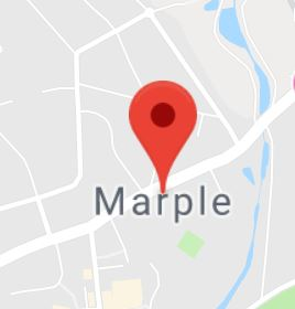 Cropped Google Map with pin over Marple