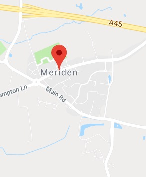 Cropped Google Map with pin over Meriden