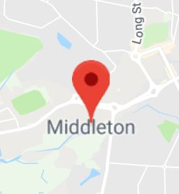 Cropped Google Map with pin over Middleton