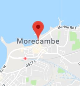 Cropped Google Map with pin over Morecambe