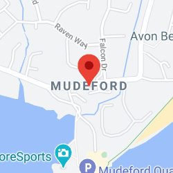 Cropped Google Map with pin over Mudeford
