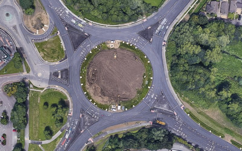 A bird's-eye view of a multi-lane roundabout in Swindon.