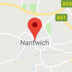 Cropped Google Map with pin over Nantwich