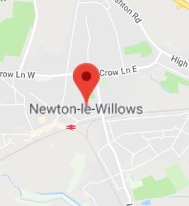 Cropped Google Map with pin over Newton-le-Willows