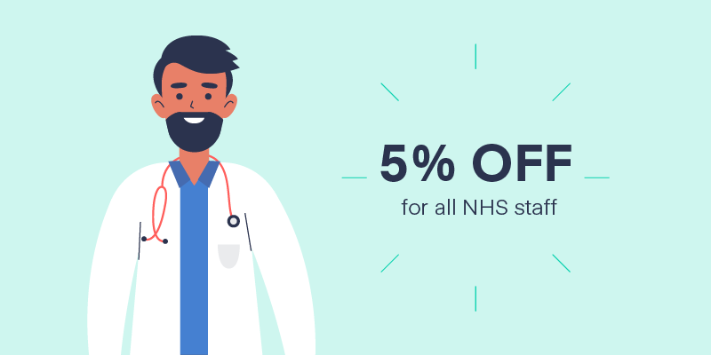 Cartoon of an NHS staff member with text overlaid saying '5% OFF'.