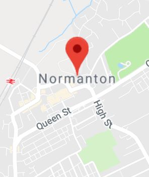 Cropped Google Map with pin over Normanton
