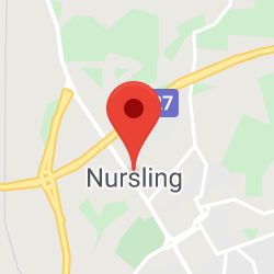 Cropped Google Map with pin over Nursling