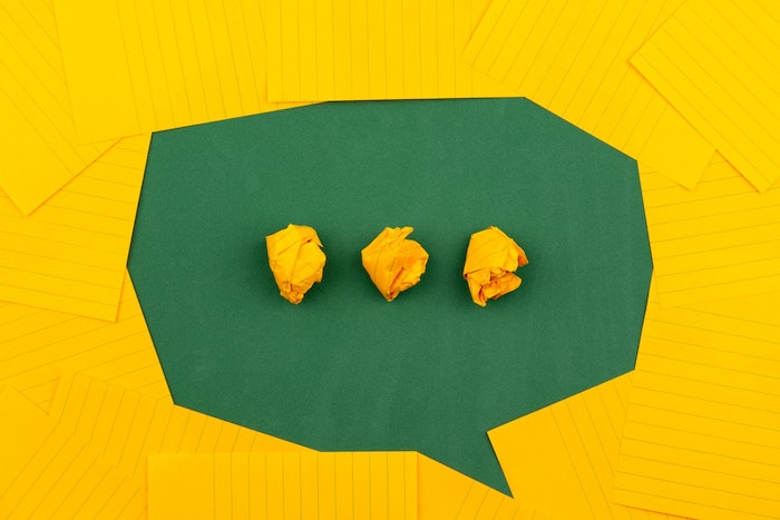 speech bubble made from yellow paper