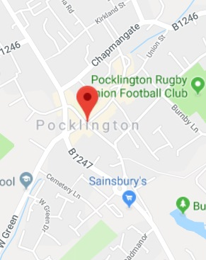 Cropped Google Map with pin over Pocklington